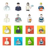 Cook, painter, teacher, locksmith mechanic.Profession set collection icons in cartoon,flat style vector symbol stock. Illustration Stock Photo