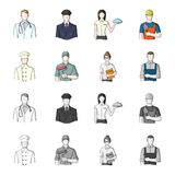 Cook, painter, teacher, locksmith mechanic.Profession set collection icons in cartoon,monochrome style vector symbol. Stock illustration Royalty Free Stock Photography