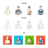 Cook, painter, teacher, locksmith mechanic.Profession set collection icons in cartoon,outline,flat style vector symbol. Stock illustration Stock Photo