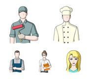 Cook, painter, teacher, locksmith mechanic.Profession set collection icons in cartoon style vector symbol stock. Illustration Royalty Free Stock Photography