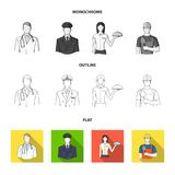 Cook, painter, teacher, locksmith mechanic.Profession set collection icons in flat,outline,monochrome style vector. Symbol stock illustration Royalty Free Stock Image