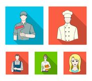 Cook, painter, teacher, locksmith mechanic.Profession set collection icons in flat style vector symbol stock. Illustration Royalty Free Stock Photo