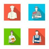 Cook, painter, teacher, locksmith mechanic.Profession set collection icons in flat style vector symbol stock Royalty Free Stock Photo