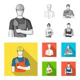 Cook, painter, teacher, locksmith mechanic.Profession set collection icons in monochrome,flat style vector symbol stock. Illustration Royalty Free Stock Photos