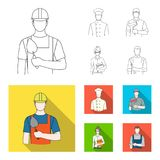 Cook, painter, teacher, locksmith mechanic.Profession set collection icons in outline,flat style vector symbol stock. Illustration Stock Images