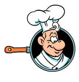Cook pan banner illustration cartoon Stock Photos
