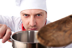 Cook with pan Royalty Free Stock Photography