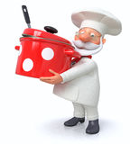 The cook with a pan and a ladle Stock Photos