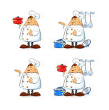 Cook with pan and tableware Stock Image