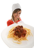 Cook with pasta Stock Photography