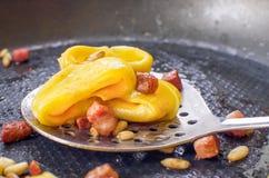 Cook Pasta ravioli in a pan Royalty Free Stock Photo