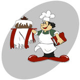 Cook. Pastry chef with cake on a gray background. vector Royalty Free Stock Photos