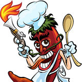 Cook the pepper. Humorous illustration of red hot chili pepper in cook uniform with a spoon and fire gun royalty free illustration