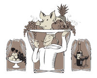 Cook with pig stock illustration