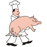 Cook and pig Stock Image