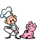 Cook pig fear cartoon illustration Stock Image