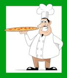 Cook and pizza  Stock Photography