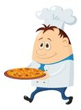Cook with pizza Stock Images