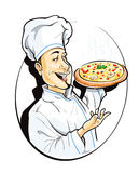 Cook with pizza. Vector illustration isolated on white background Stock Photos