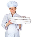 Cook with pizza Royalty Free Stock Images