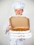 Cook with a pizza Royalty Free Stock Photo