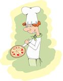 Cook and Pizza - Illustration Royalty Free Stock Photo