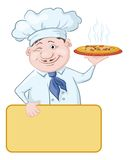 Cook with pizza and poster Royalty Free Stock Photography