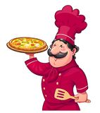Cook with pizza. Traditional italian food. Cartoon character Royalty Free Stock Photo
