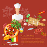 Cook pizzeria pizza ingredients Stock Images
