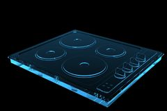 Cook Plate 3D rendered xray blue Royalty Free Stock Photos