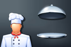 Cook and plate. Illustration of cook and opened plate on grey background vector illustration