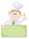 Cook with poster and sprig of spices. Cartoon cook - chef with blank banner for your text holding a sprig of spices Royalty Free Stock Images