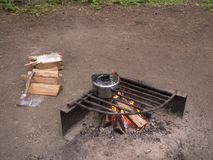 Cook pot over open campfire Stock Photography