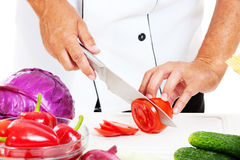 Cook prearing salad Royalty Free Stock Images