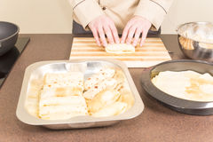 Cook prepares empanadas Royalty Free Stock Photos