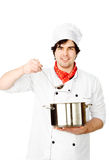 Cook prepares in the pan Royalty Free Stock Photography