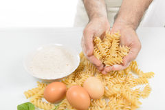 The Cook Prepares the Pasta Royalty Free Stock Image