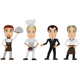 Cook prepares and waiter with tray. A vector icon of a waiter serving dinner and cook prepares Royalty Free Stock Photos