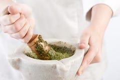 Cook preparing pesto Royalty Free Stock Images