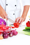 Cook preparing salad Royalty Free Stock Photo