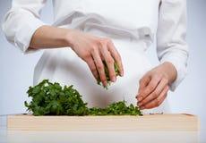 Cook preparing salad Royalty Free Stock Photos