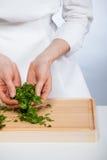 Cook preparing salad Stock Photo