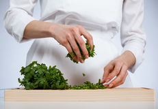 Cook preparing salad Royalty Free Stock Photo