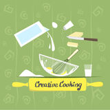 Cook Process Utensils, Products Food Prepare, Creative Cooking Banner Stock Photo