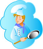 Cook professionin a frying pan. Food cartoon  vector illustration  sticker Royalty Free Stock Photography