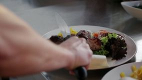 Cook puts on the plate with pita bread and salad the hot shish kebab stock video footage