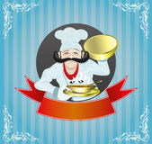 Cook and red ribbon. Stock Images