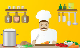 Cook in a restaurant. Happy cook in a restaurant on a yellow background Stock Photos