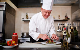 Cook at restaurant. Cook decorating salad at restaurant royalty free stock photo