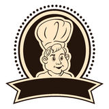 Cook with a ribbon. Cook vector in the round label with ribbon Stock Illustration